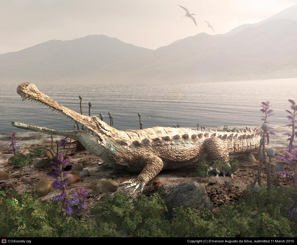 Sarcosuchus the Prehistoric ancestor of today crocodile_large