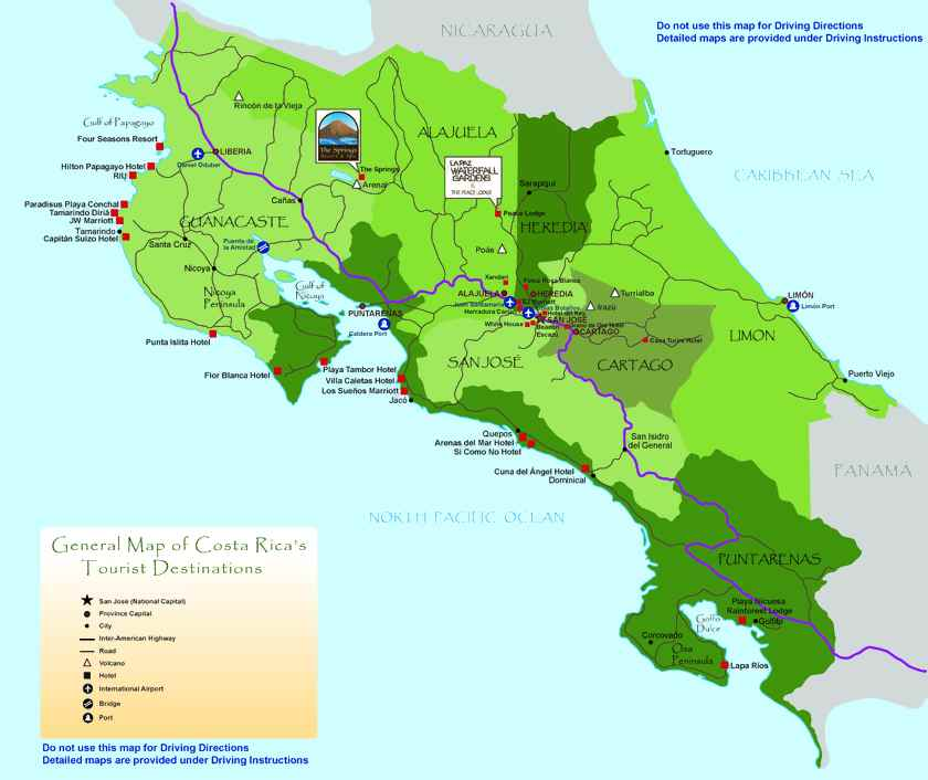 turistic map costa rica