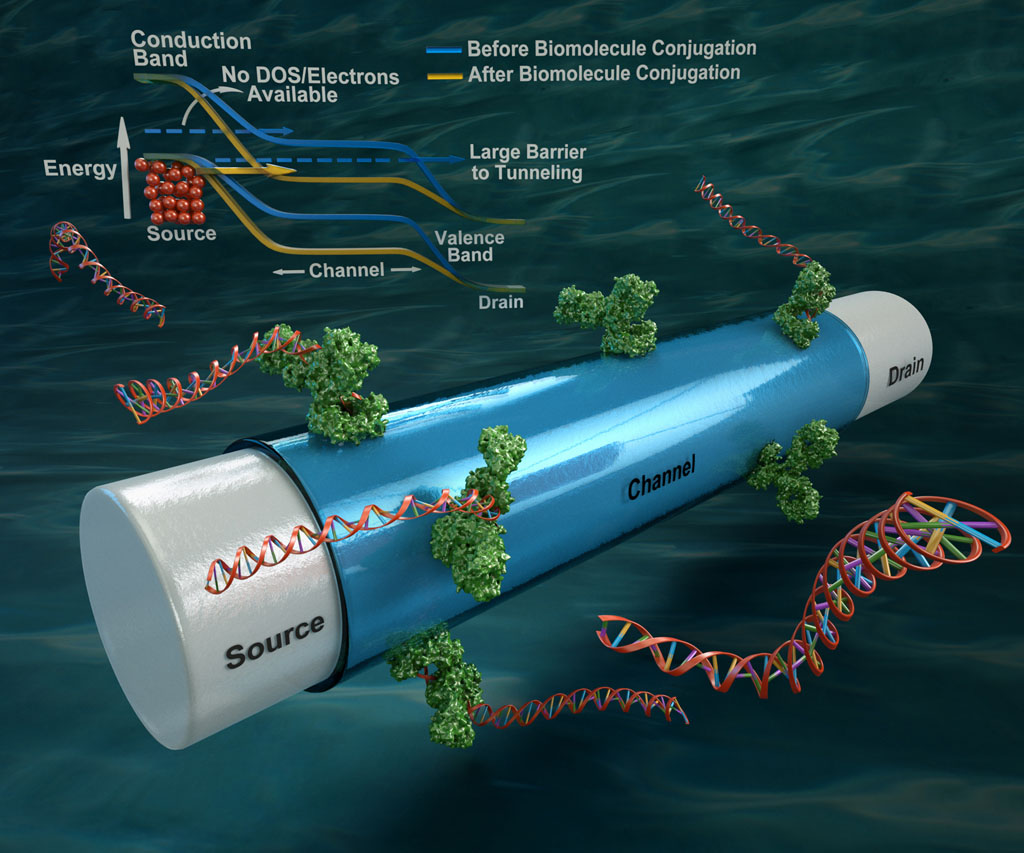 Schematic of a Tunnel-FET biosensor proposed by UCSB researchers